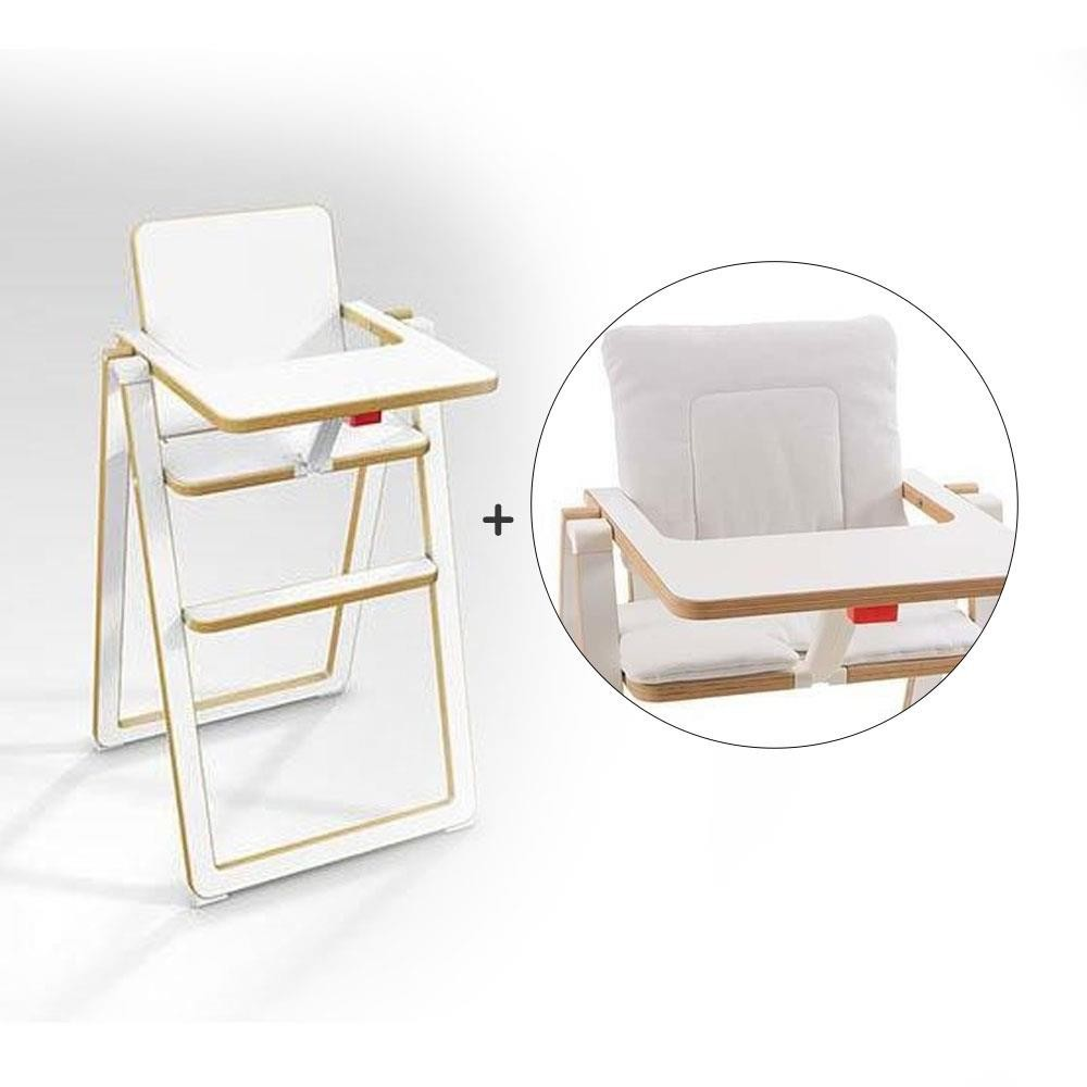 奧地利 SUPAflat 兒童折疊高腳餐椅(白)+坐墊(香草白)[免運費]