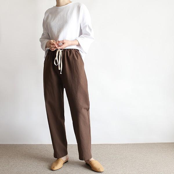 girlmonster 正韓 亞麻柔軟涼爽鬆緊綁帶長褲 ( 米色 卡其色 粉紅色 咖啡 黑色) 【A0484】