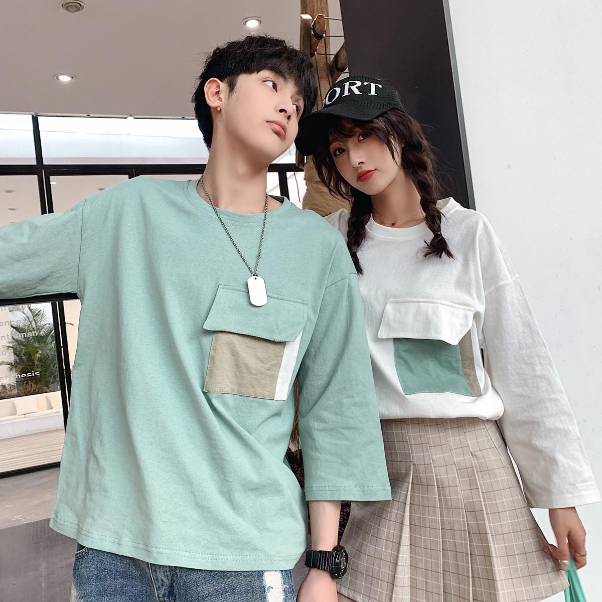 [嬌戀主角]3色學院風寬鬆口袋七分袖T恤拼色情侶衣著上衣