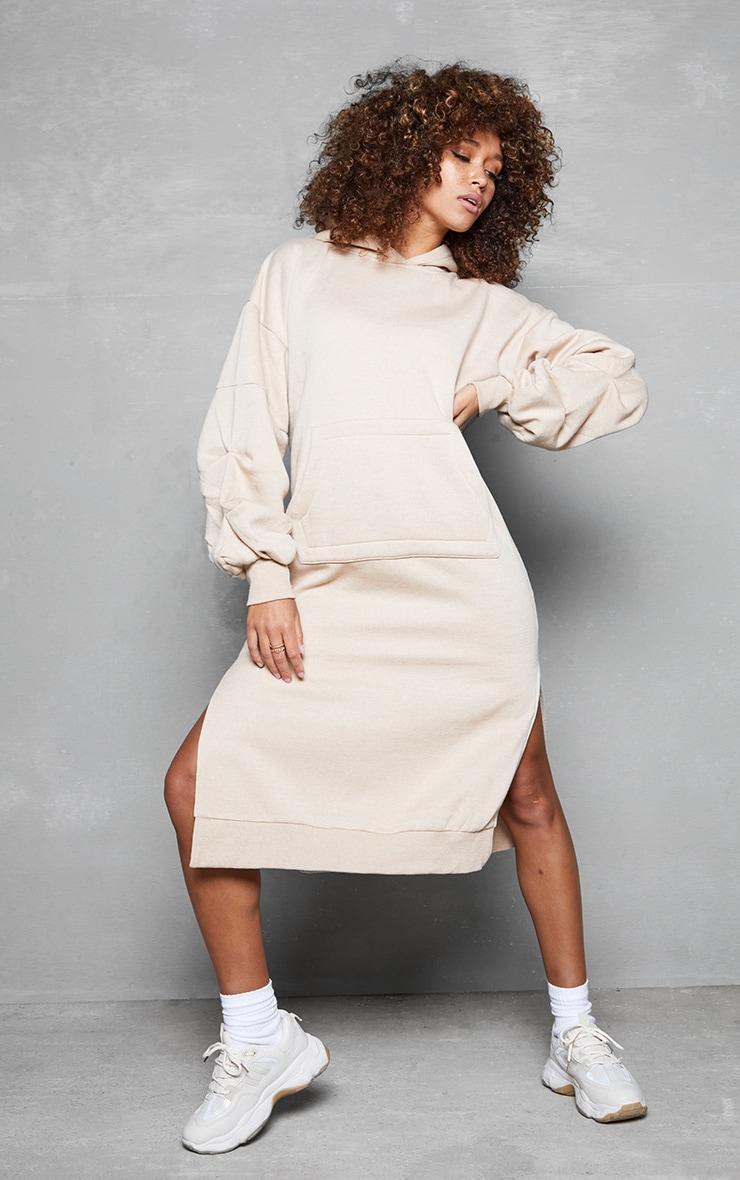 Beige Oversized Hooded Split Side Midi Dress
