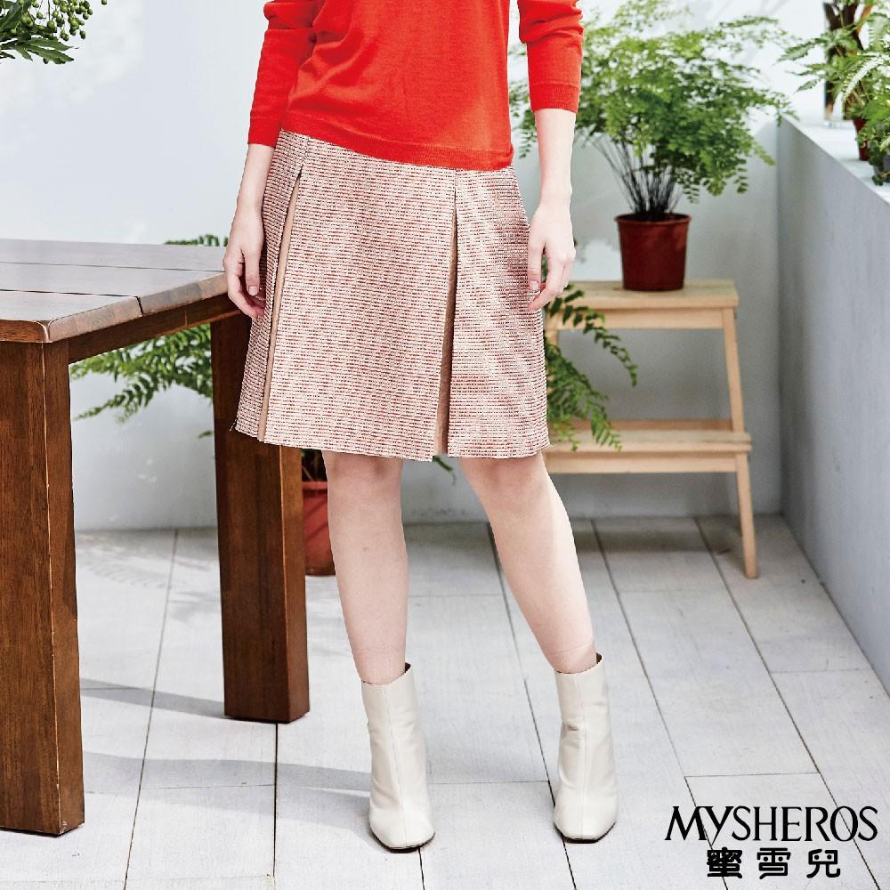 蜜雪兒MySHEROS-棉質百褶短裙-橙-0410-22824-40