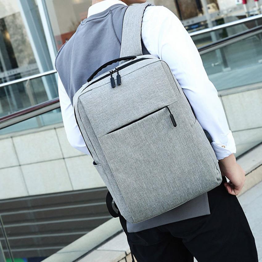 【免運】新款雙肩包 男生運動休閒背包 新款簡約素面充電背包休閒商務電腦包 旅行包 大容量