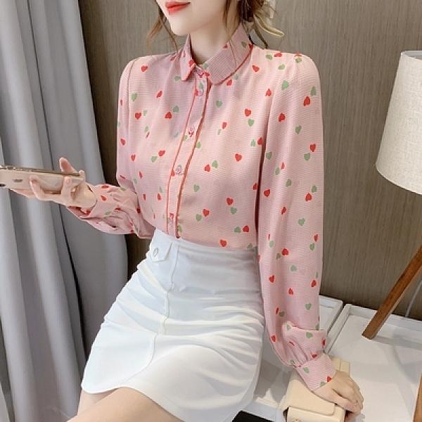 長袖襯衫 雪紡上衣秋裝新款日系可鹽可甜娃娃衫上衣女小眾設計時尚洋氣法式襯衫T614紅粉佳人