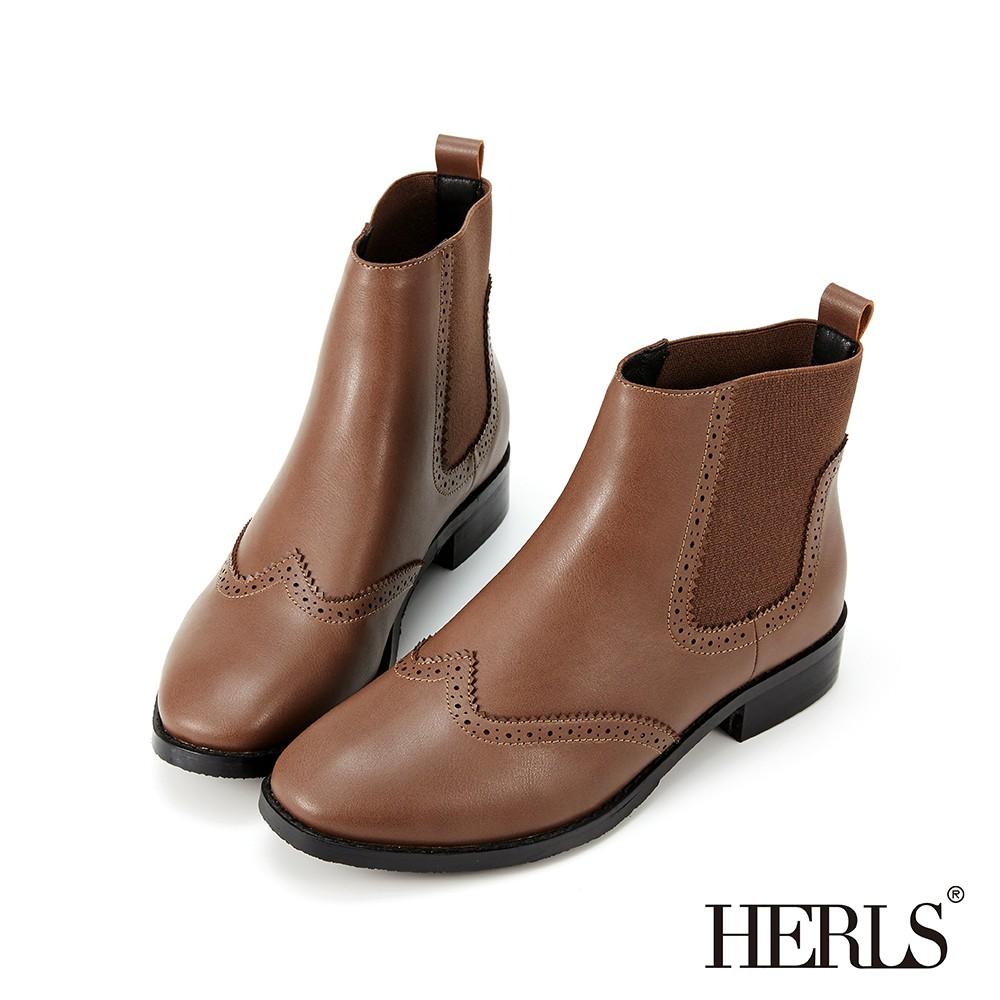HERLS短靴 翼紋沖孔側鬆緊切爾西皮革短靴 深棕色