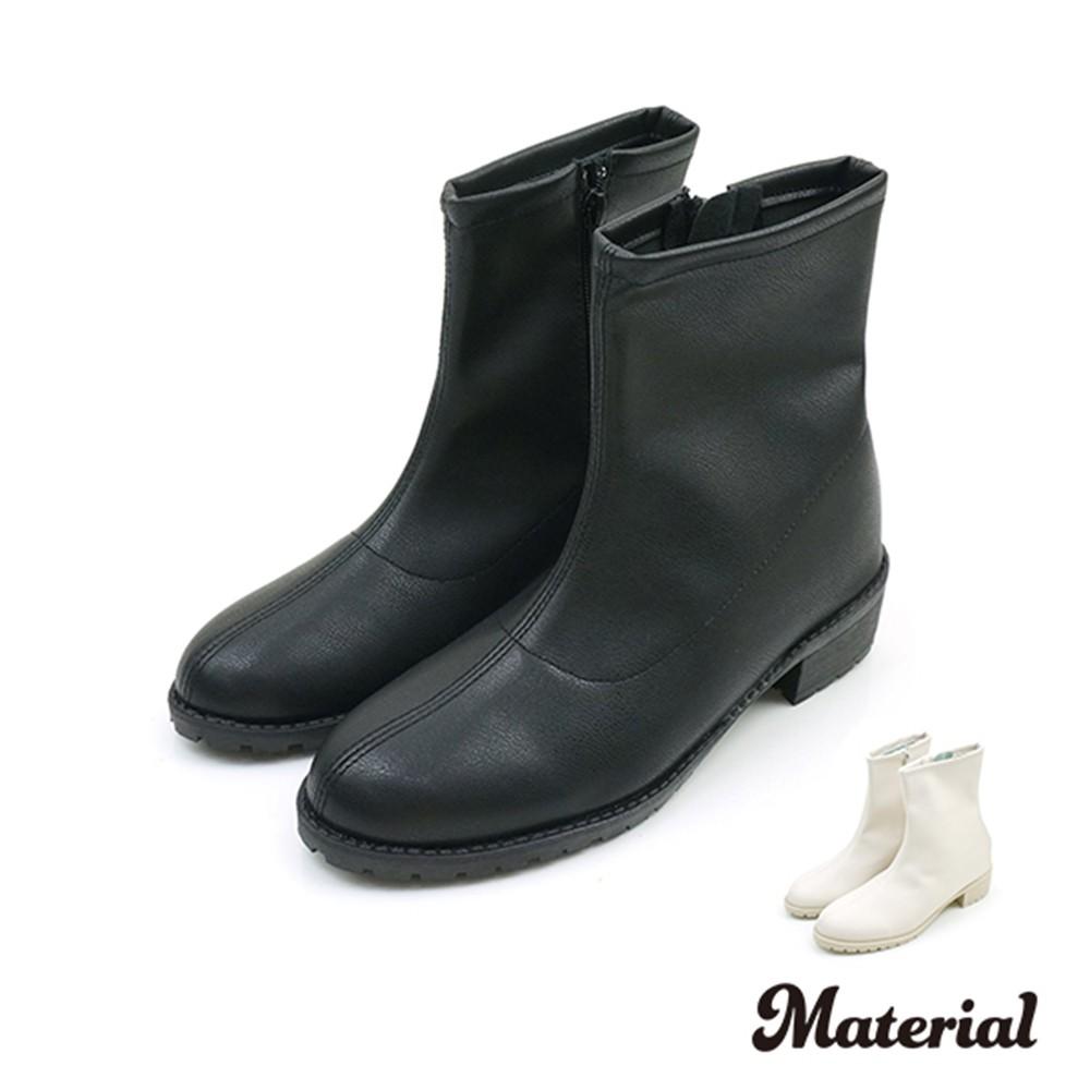 短靴 簡約壓線園頭短靴 T5081