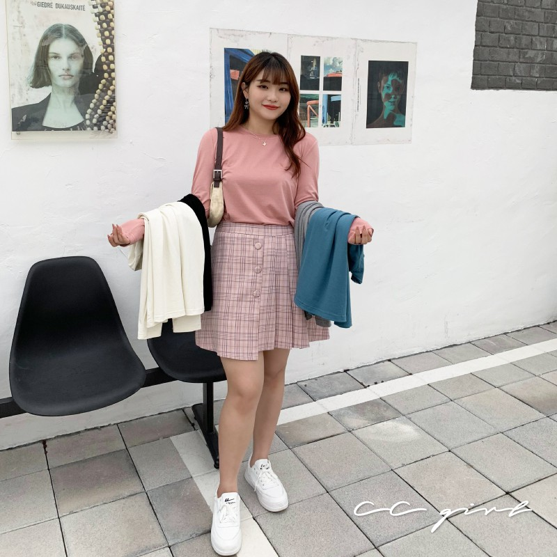 CC-GIRL 百搭圓領素色長袖上衣 -共 5 色- 適L~5L《 90417 》中大尺碼