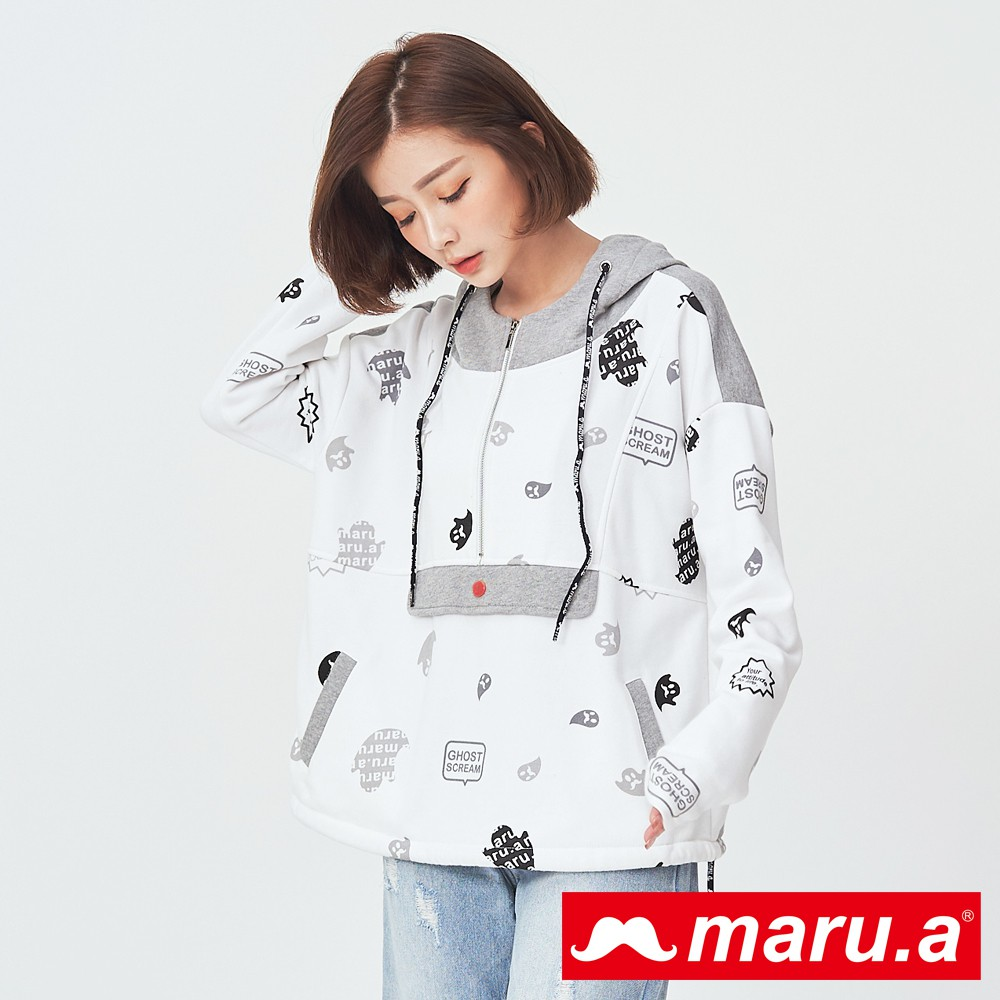 maru.a (99)滿版印花寬鬆連帽上衣(白色)