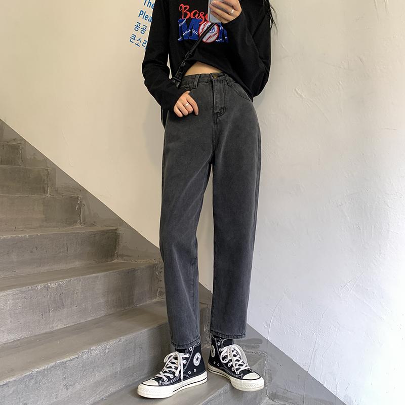 M-4XL大尺碼衣著 新款秋冬季高腰韓版牛仔褲女九分顯瘦胖妹妹mm直筒褲