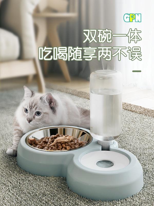 貓碗狗碗狗盆雙碗自動飲水狗食盆狗狗貓咪水碗防打翻飯盆寵物用品