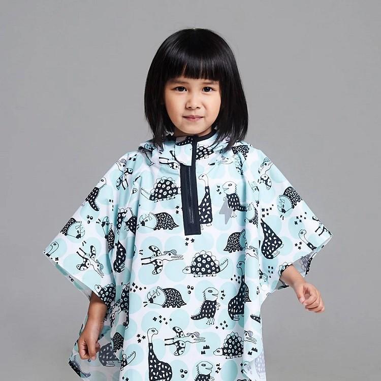 台灣 OGG 幼兒防水斗篷雨衣 (湖水藍恐龍 S/M)