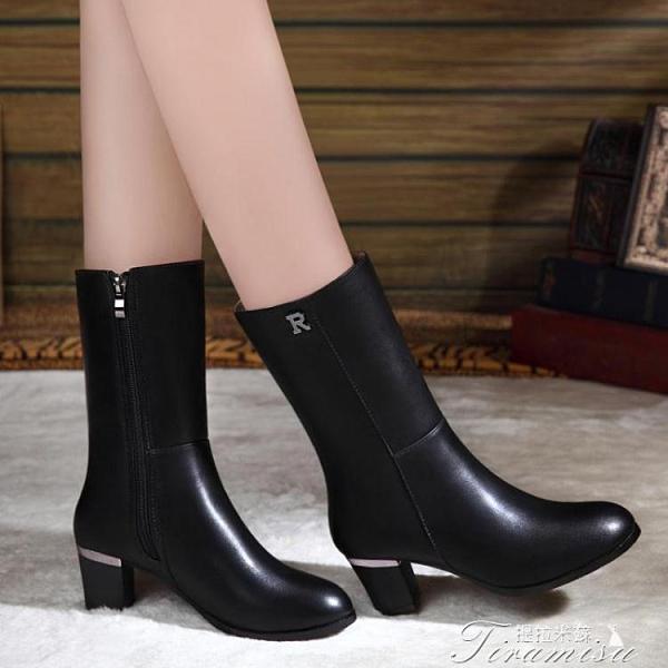 時尚短靴 真皮足意爾康短靴女粗跟中跟冬鞋年冬季新款馬丁靴女春秋單靴 快速出貨