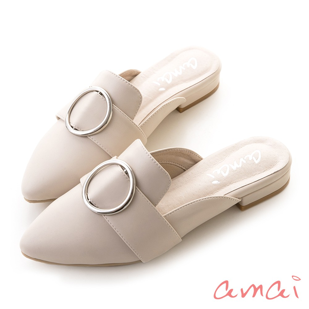 amai 《oh 我的夢露》金屬圓釦尖頭樂福穆勒鞋 杏白色 SP8-62BE