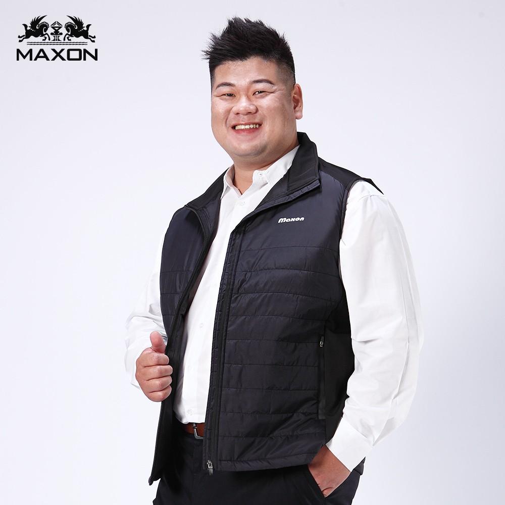【MAXON】加大尺碼大尺碼黑色剪接微鋪棉背心2XL~5XL 上班 面試 紳士 商務 超取免運
