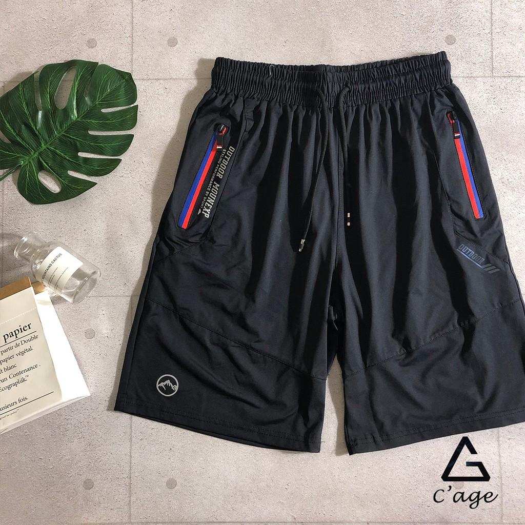【C'age】雙色拉鍊寬鬆運動網球短褲 涼感 舒適 絲柔 輕薄 撞色 拼色 彈性 簡約 黑色 休閒 現貨 97234