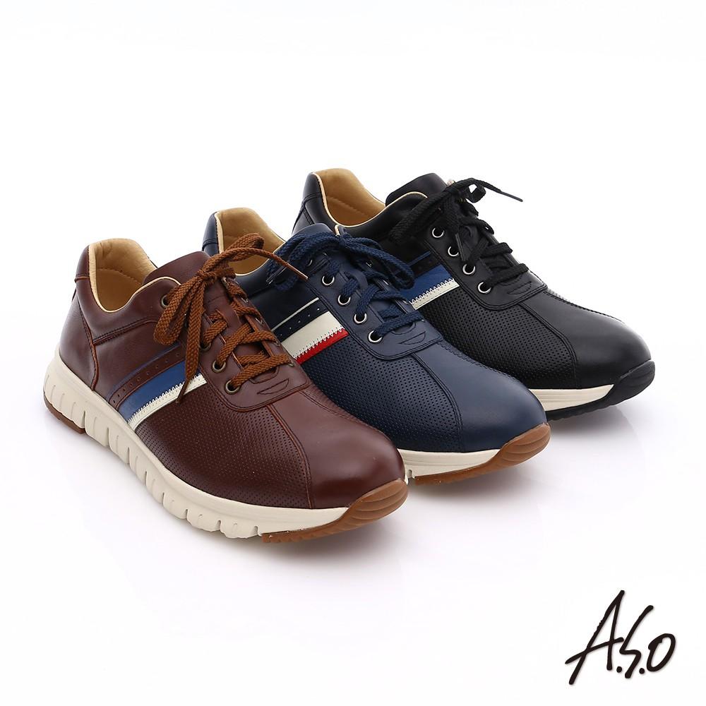 【A.S.O阿瘦】輕量抗震 真皮條紋配色活力休閒鞋-咖啡/藍/黑