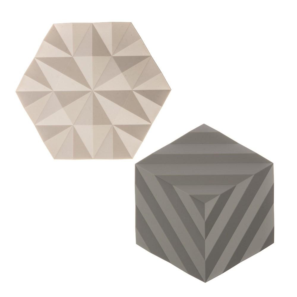 丹麥ZONE FOLD系列幾何矽膠鍋墊-櫸木黃+泥灰