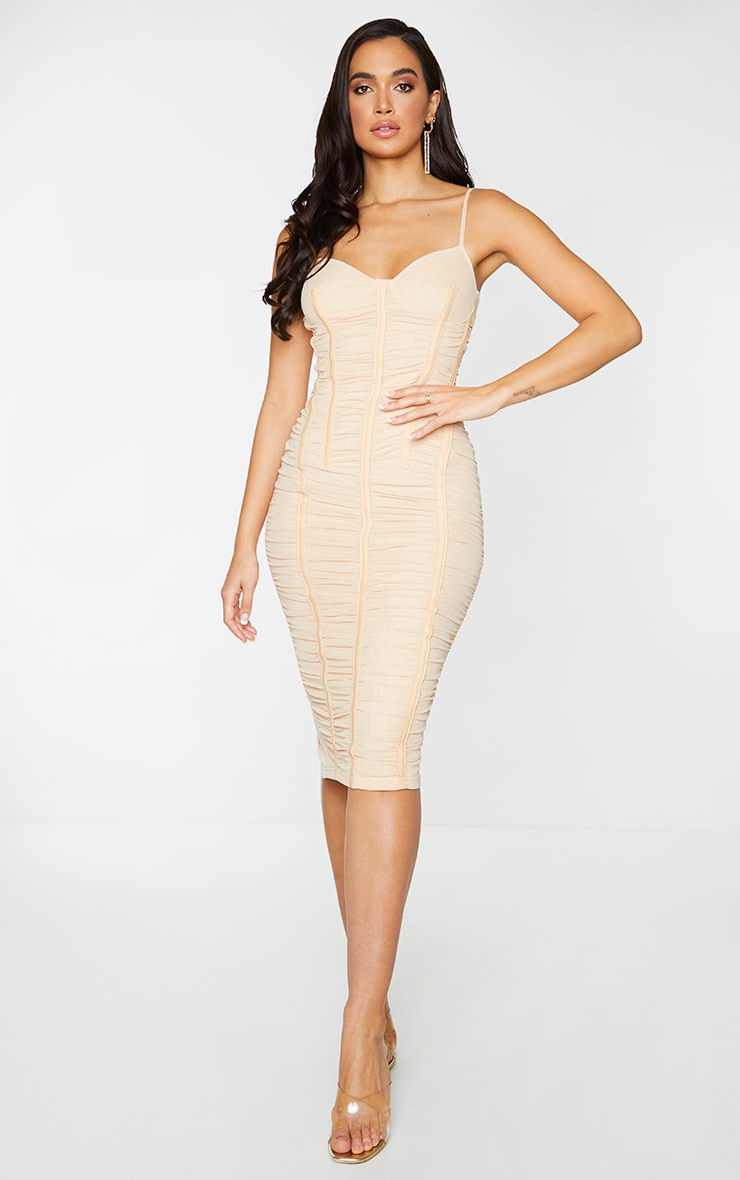 Stone Mesh Ruched Binding Detail Strappy Midi Dress