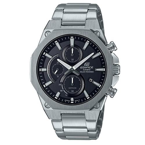 【CASIO】EDIFICE 八角扁平錶圈三眼輕薄太陽能藍寶石計時不鏽鋼腕錶-黑面(EFS-S570D-1A)