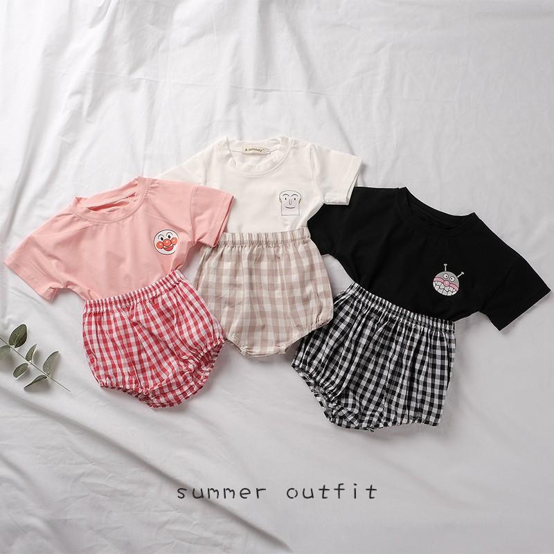 夏季韓版 嬰幼兒童夏季短袖套裝 女寶寶可愛簡約卡通薄棉短袖T卹+格子短褲 兩件套【IU貝嬰屋】
