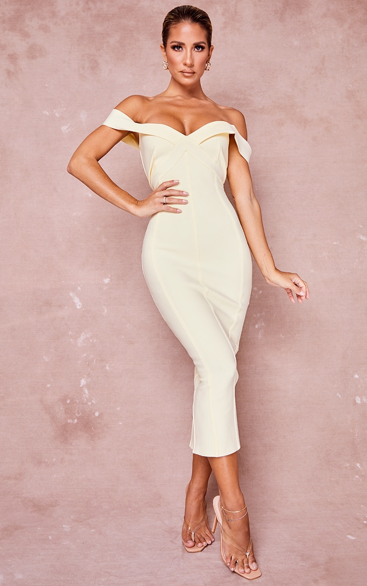Cream Bandage Bardot Binded Midi Dress