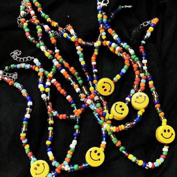 【K-2】繽紛 TRAP頸鍊 彩虹珠珠 微笑項鍊 和平 笑臉 PEACE&LOVE 網紅 韓風 穿搭 飾品【KP291】