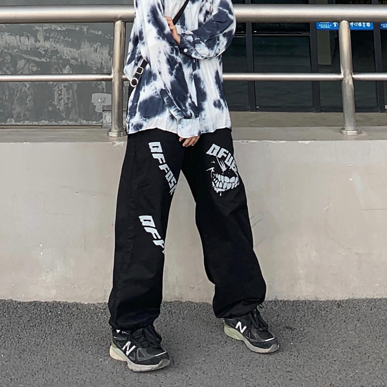 【免運】韓版ins暗黑原宿風印花收腳闊腿工裝長褲 直筒寬鬆休閒長褲男女潮 情侶裝