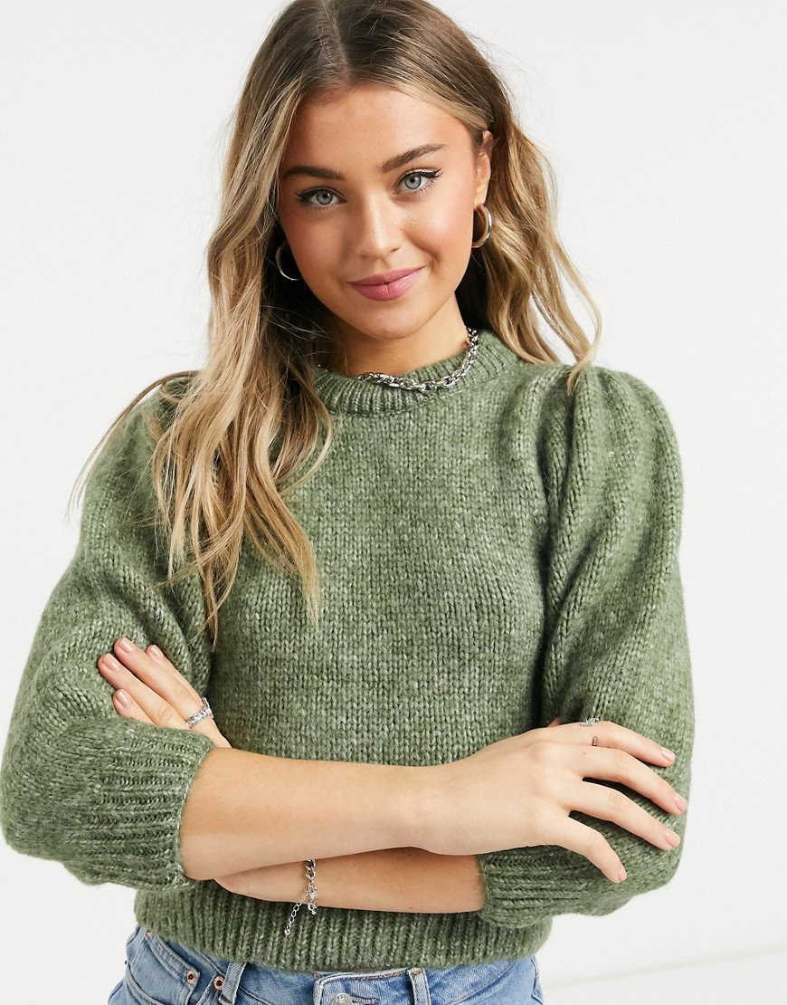 Only chunky jumper with balloon sleeves in brushed green knit-Blue