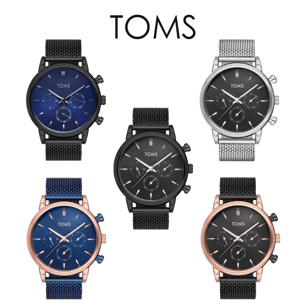 TOMS 輕薄時尚真三眼米蘭帶手錶(81841)