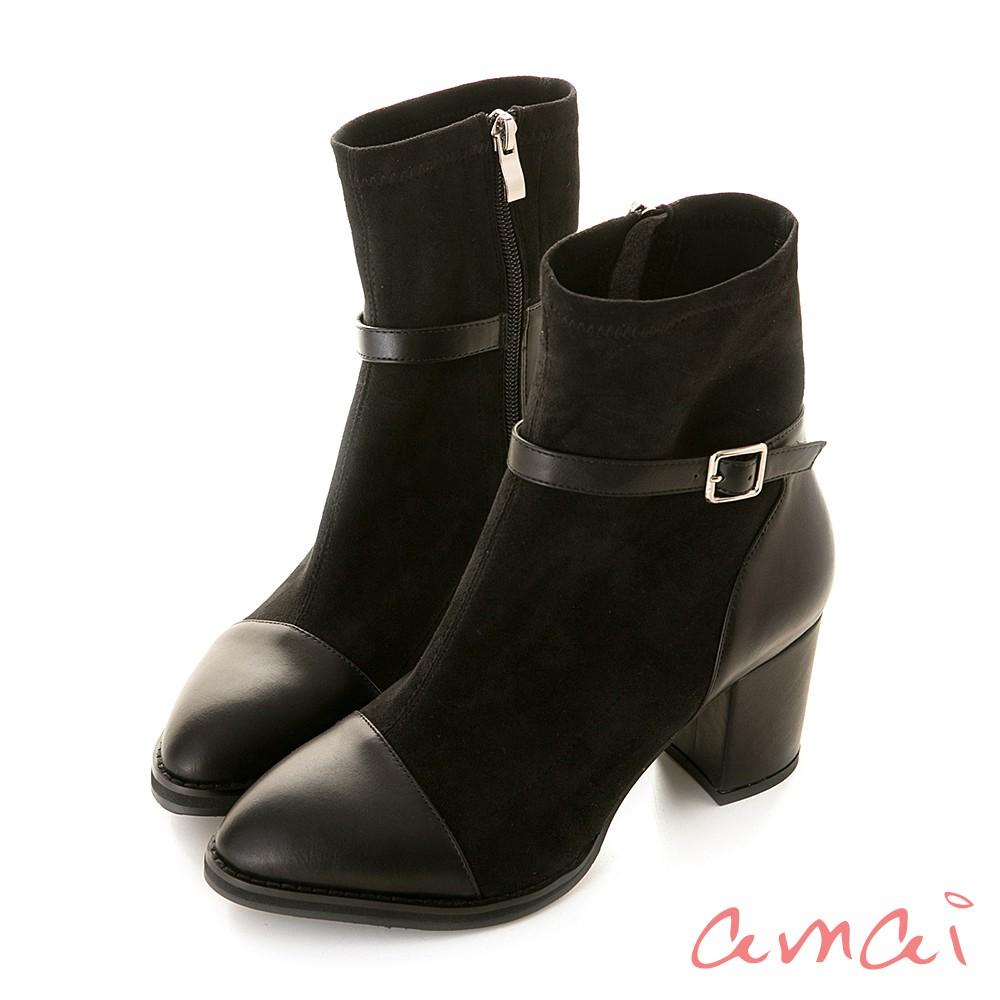 amai 怪美的-異材質拼接微鬆襪靴 絨布黑 ZB-34PB