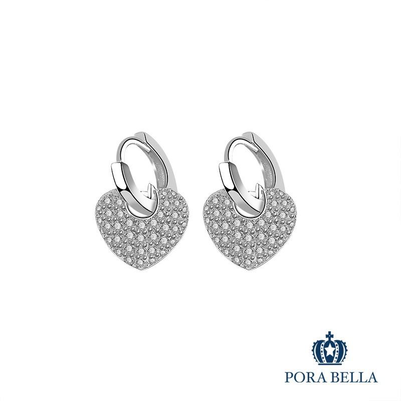 Porabella925純銀鋯石耳環 愛心永恆承諾 心心相印 穿洞式耳環Earrings VIP尊榮包裝 1件免運