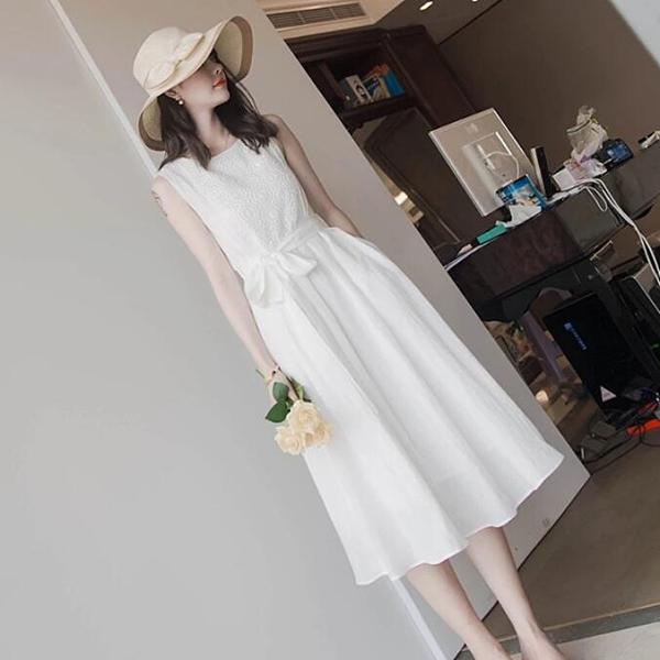 洋裝 韓版 婚禮小禮服 無袖蕾絲中長款白色連身裙 花漾小姐【現貨】
