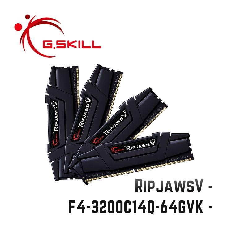 芝奇G.SKILL RipjawsV 16Gx4 四通 DDR4-3200 C14黑 F4-3200C14Q-64GVK