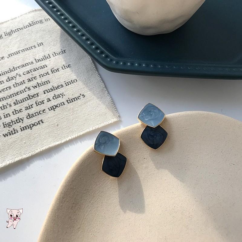 2020春款張子楓同款夾式耳環春遊925銀針耳飾方臉適合港味復古葡萄珍珠霧霾藍耳夾A1010