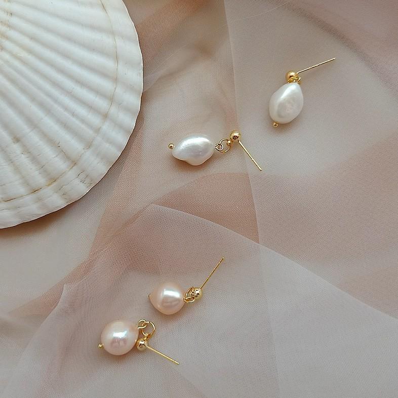 【KELRA】銀針巴洛克珍珠小垂墜耳環 耳夾
