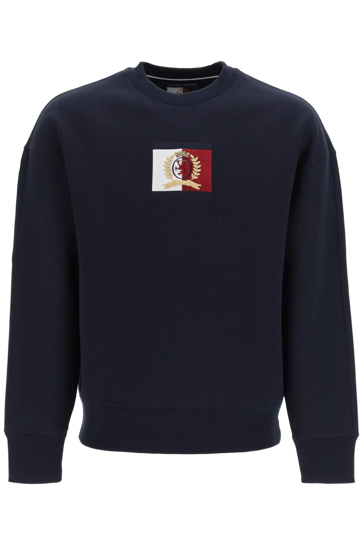 TOMMY HILFIGER COLLECTION CREW NECK SWEATSHIRT WITH THC EMBLEM PATCH XL Blue Cotton