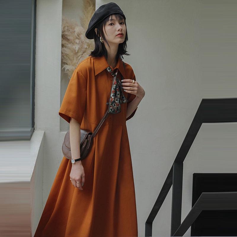 女生洋裝 長袖洋裝 復古洋裝 夏季法式初戀閨蜜裙子高腰復古桔梗裙寬鬆襯衫娃娃polo