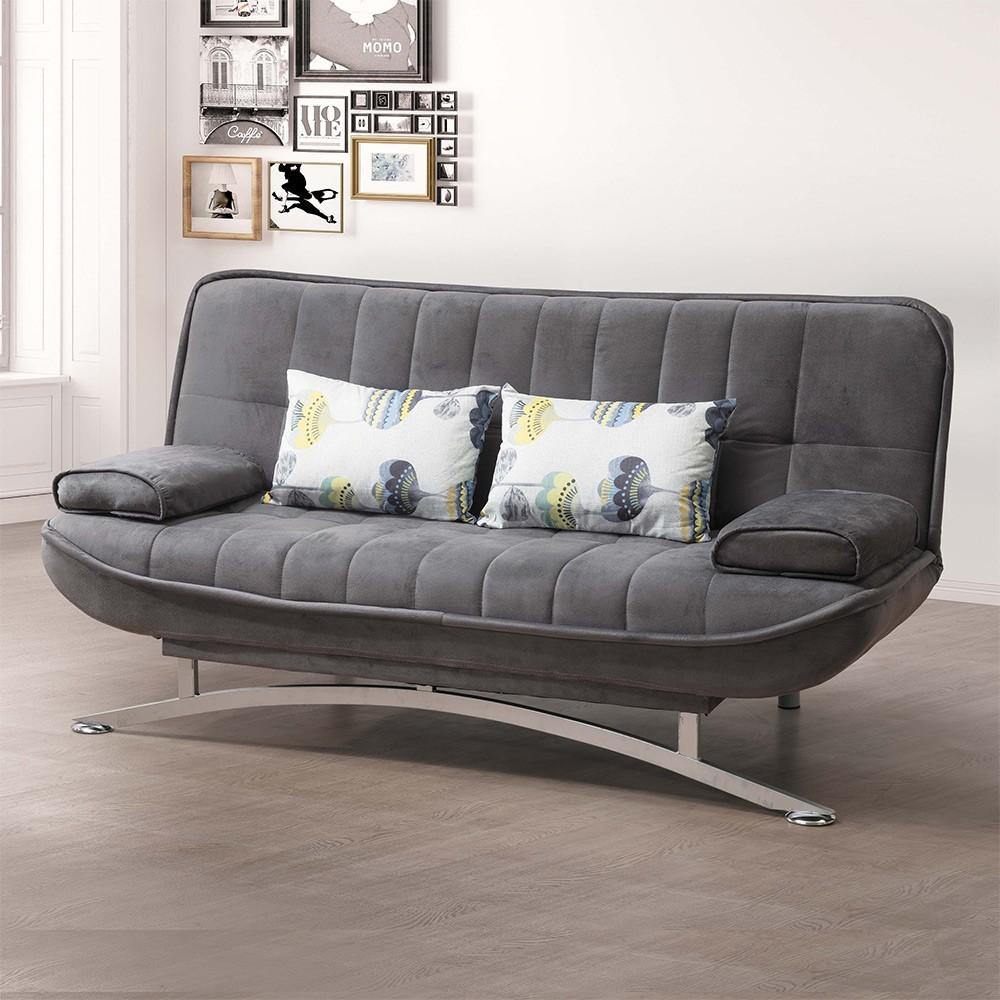 Boden-托米灰色布沙發床/雙人椅/二人座(送抱枕)