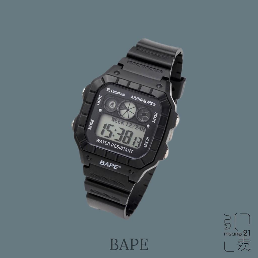 BAPE APE A BATHING APE 猿人 手錶 黑魂 電子錶 男女 可調式錶帶【Insane-21】