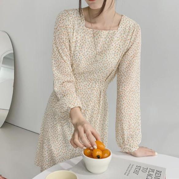 36891 秋季新款韓版甜美方領收腰顯瘦碎花法式超仙桔梗初戀裙洋裝