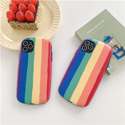保護殼 iphone SE2 7 8plus X XR XSMax 11 Pro Promax 塗鴉彩虹浮雕小羊皮橢圓殼