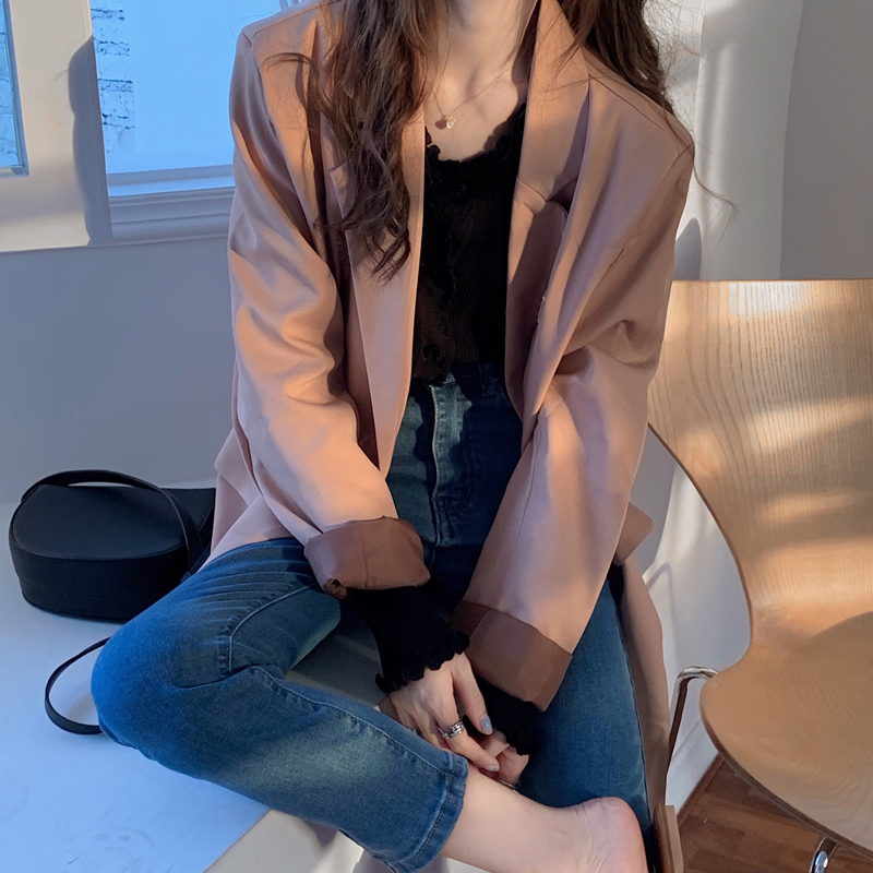 西裝外套 219741韓版chic小香風寬鬆顯瘦百搭長袖上衣薄外套