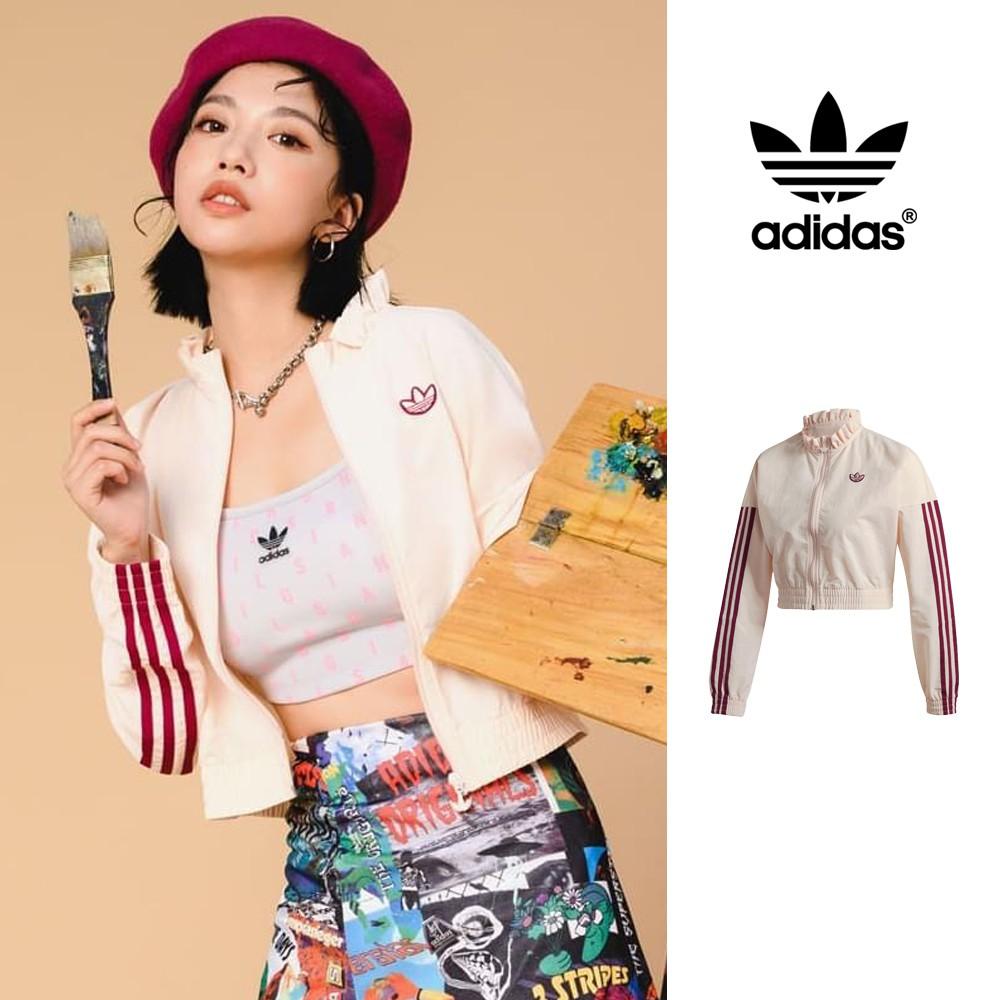 Adidas Originals 外套 女款 風衣 短版 運動 休閒 復古 三葉草 荷葉領邊 油娜 Una