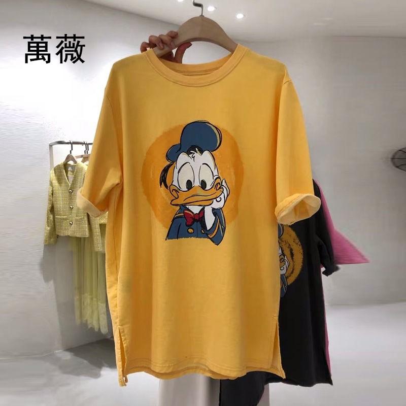 【萬薇】短袖T恤女新款韓國東大門卡通印花百搭休閑上衣服女