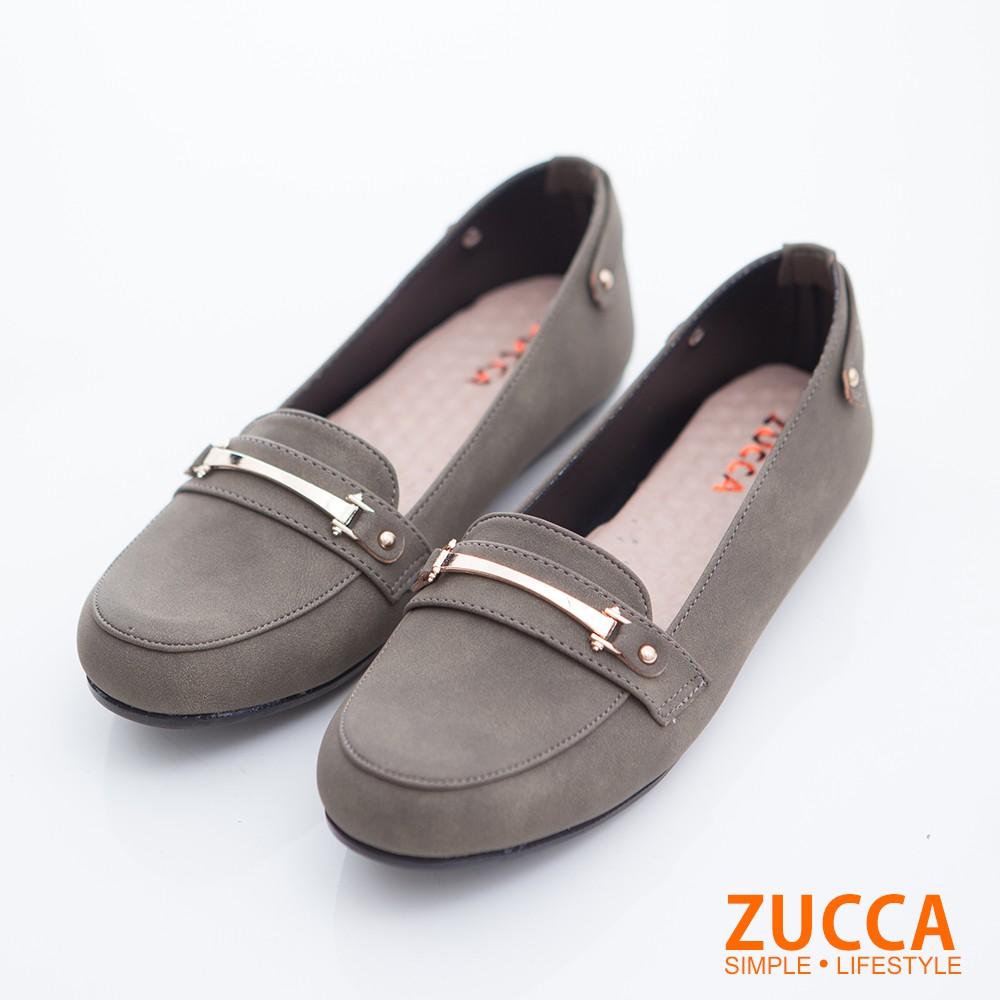 【ZUCCA】絨毛皮革金屬休閒鞋-z6716gn-綠