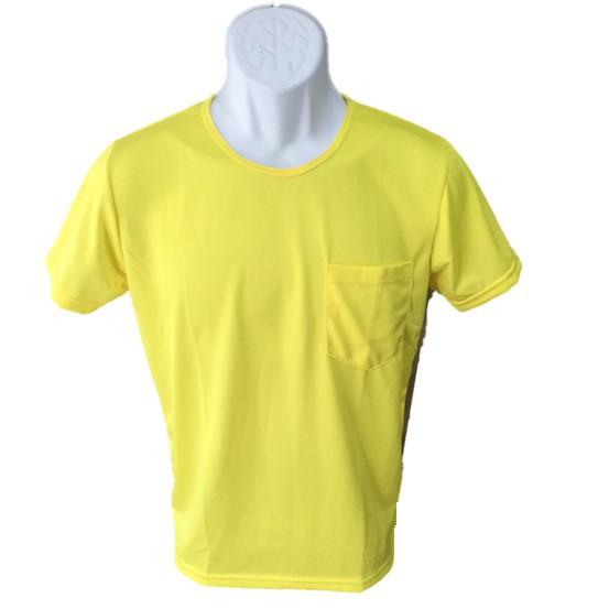 吸濕排汗圓領T恤(有口袋)黃色 廠商直送 現貨