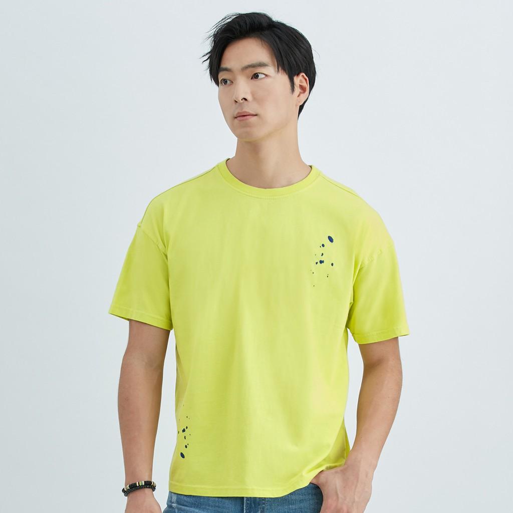 【ERSS】寬鬆潮流潑墨圓領印花純棉T恤 - 男 青綠 K70122