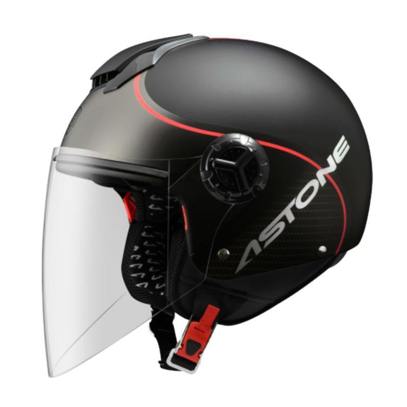 Astone 安全帽 CJ500 LL10 消光黑紅 加長鏡片 內藏式墨鏡 全可拆 半罩《送280購物金》