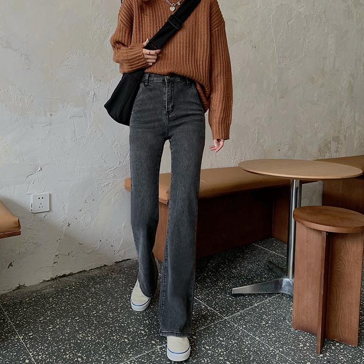 38363彈力 高腰顯瘦丹寧牛仔喇叭長褲 薄荷美衣