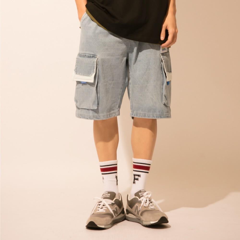 LAKING多口袋織帶牛仔短褲
