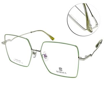 SEROVA光學眼鏡 多邊大方框款(綠-槍)#SL657 C100